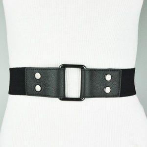 Black Leather Stretch Belt